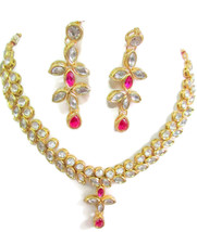Indian Bollywood Fashion Weding Ethnic Gold Tone Kundan Necklace Earring... - $11.50