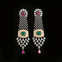 Cubic Zircon Stones And Clear Rhinestone Settings Long Drop Dangle Earrings - $34.99