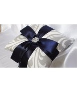 DAMASK  RING PILLOW or Flower Girl Basket  Grey/white w/Navy Blue or you... - $26.95