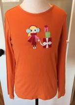 Gymboree Christmas Shirt Girls Long Sleeve Top Size 12 Girl with Earmuffs Gifts - $7.99