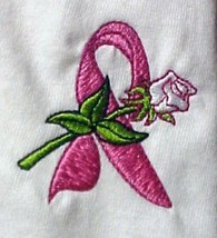 Breast Cancer L/S T-Shirt 2XL Pink Awareness Ribbon White Rose Unisex New - $24.22