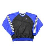 Vtg 90s ADIDAS nylon windbreaker Pullover Blue/Blk L Colorblock V neck F... - $34.65