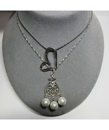 2 Piece Lot Sterling Silver Dangling Filigree Heart Pendant Necklaces 19... - $35.64