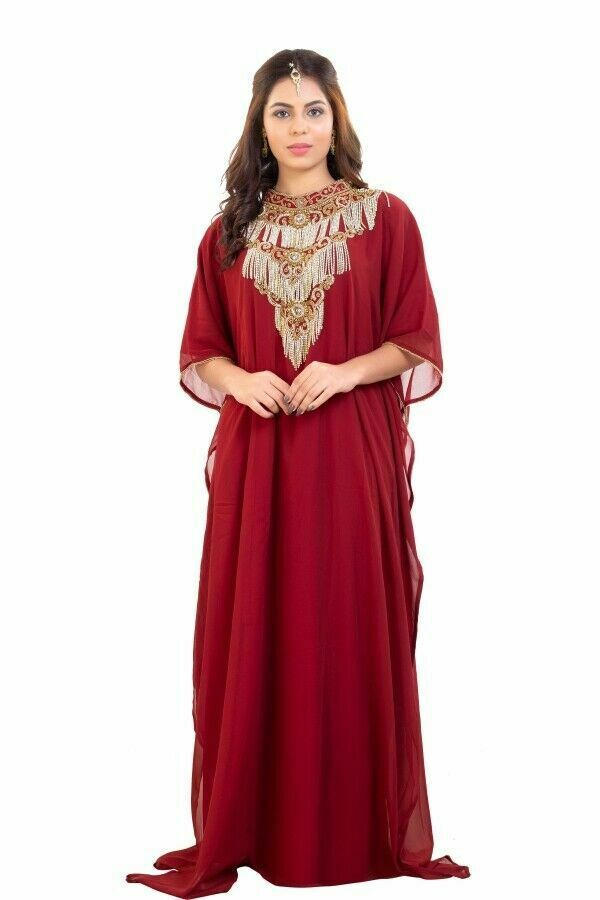 Primary image for New Kaftan Farasha Abaya Hijab Party Wear Zari Work Embroidery Beach Maxi Dress