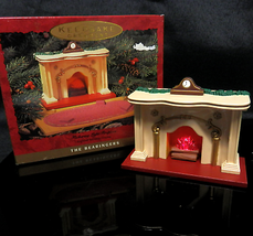 "Minature Lighted Fireplace Hallmark Figurine Battery Operated Decoration 4"" Wide - $10.00"