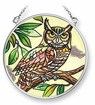 """Long Eared Earth Owl Sun Catcher AMIA 3.5"""" Round New Hand Painted Glass  - €17,12 EUR"""