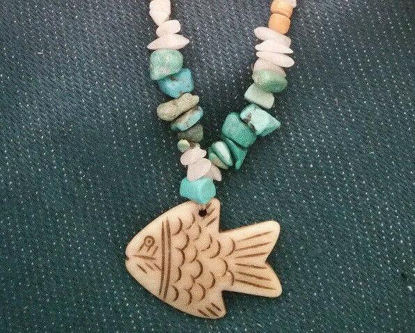 Old Mine Kingman's Turquoise Necklace,w/ Milk quartz, Fish pendant Men or Women
