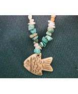 Old Mine Kingman's Turquoise Necklace,w/ Milk quartz, Fish pendant Men o... - $29.69