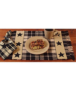 2  Country new FARMHOUSE black/tan STAR woven cotton placemats/ nice  - $17.75