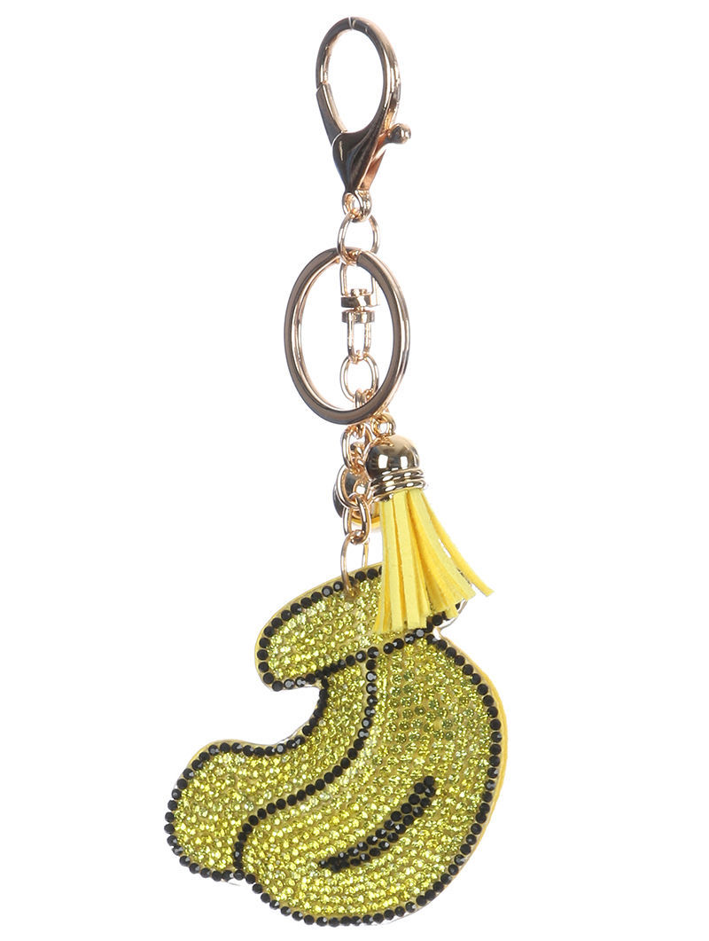 Tassel Bling Pave Crystal Banana Pillow Key Chain Handbag Charm Key Fob