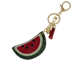 Watermelon Slice Faux Suede Tassel Stuffed Pillow Key Chain Handbag Charm - $12.95