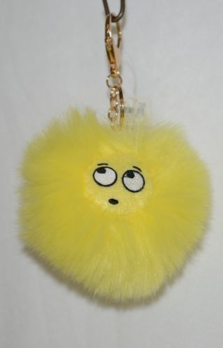 Snoozies Yellow Black Fluffy Emoji Oh Backpack Charm Chain