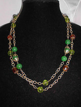 VTG Long Ornate Gold Chain Link Green & Amber Glass Bead Beaded Necklace... - $29.70