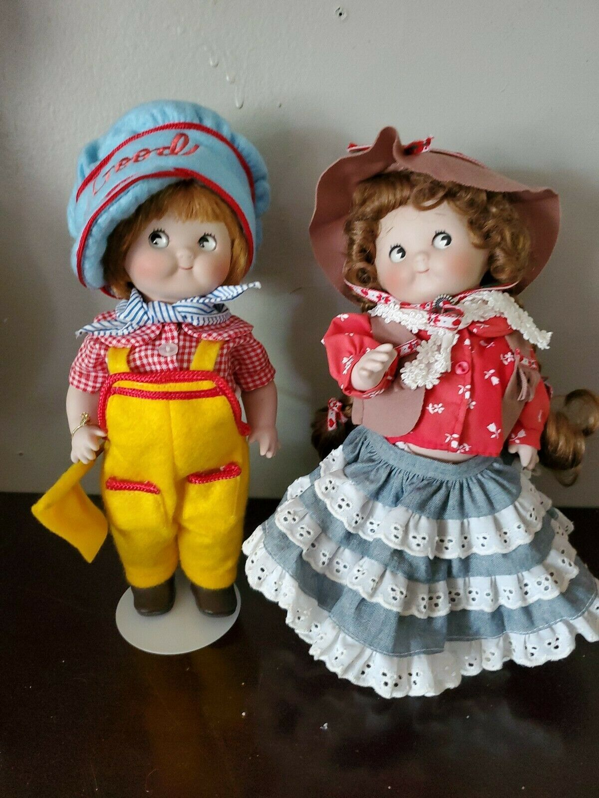 "2 pcs Campbell Kids Danbury Mint  ""The Little Gardener"" 10"" Porcelain Doll"