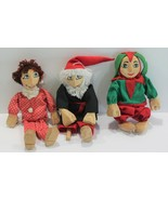 Wood Carved Wired Arms Legs Dolls Clothed Hand Painted Set of 3  - $26.99