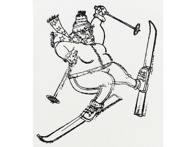 Skiing Grandma Unmounted Rubber Stamp