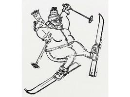 Skiing Grandma Unmounted Rubber Stamp image 1