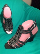 VINCE CAMUTO BEVYS 6B WOMEN'S GRAY SANDALS WEDGES BEADED GLADIATOR SHOES... - $39.59
