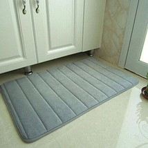 Memory Foam Floor Mats Bath Shower Antislip Carpet Bathroom Rugs BR Silv... - $14.79