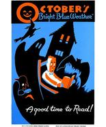 October's Bright Blue Weather A Good Time To Read Books - 1936 - WPA Magnet - $11.99