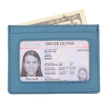 Genuine Leather Minimalist Slim Front Pocket Wallet for Women Men with Card Slot - $14.71