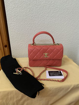 AUTH CHANEL QUILTED LAMBSKIN CORAL PINK TRENDY CC 2 WAY HANDLE FLAP BAG GHW