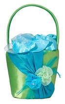 blue & green flower basket wedding flower girl basket  - $15.99