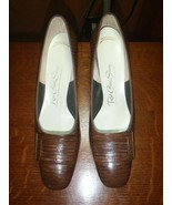 Vintage Red Cross Embossed Leather Pumps Shoes Brown Size 9 AAA - $37.39