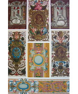 RENAISSANCE Sculptured Painted Woven Cartouches - A. RACINET Color Litho... - $30.60