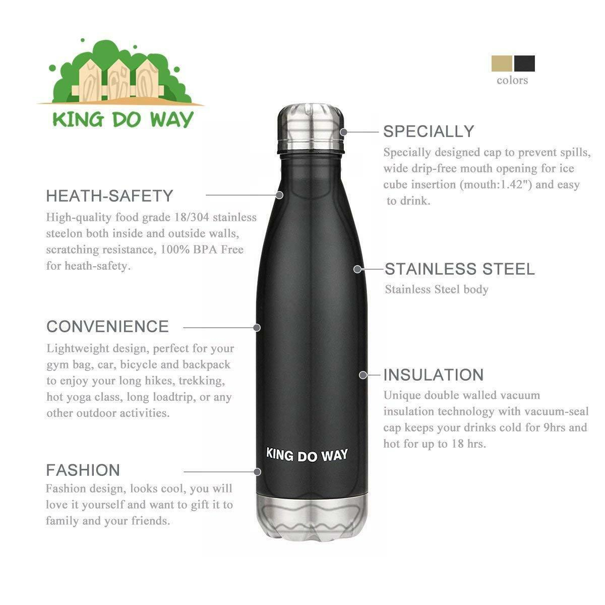Primary image for Stainless Steel Water Bottle Double Wall Vacuum Insulated 17oz Warm, Cold drinks