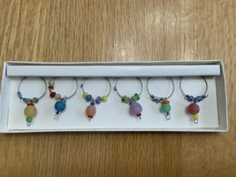 Pier 1 Imports Frosted Glass Beads Wine Charms Set Of 6 Original Packaging - $13.32