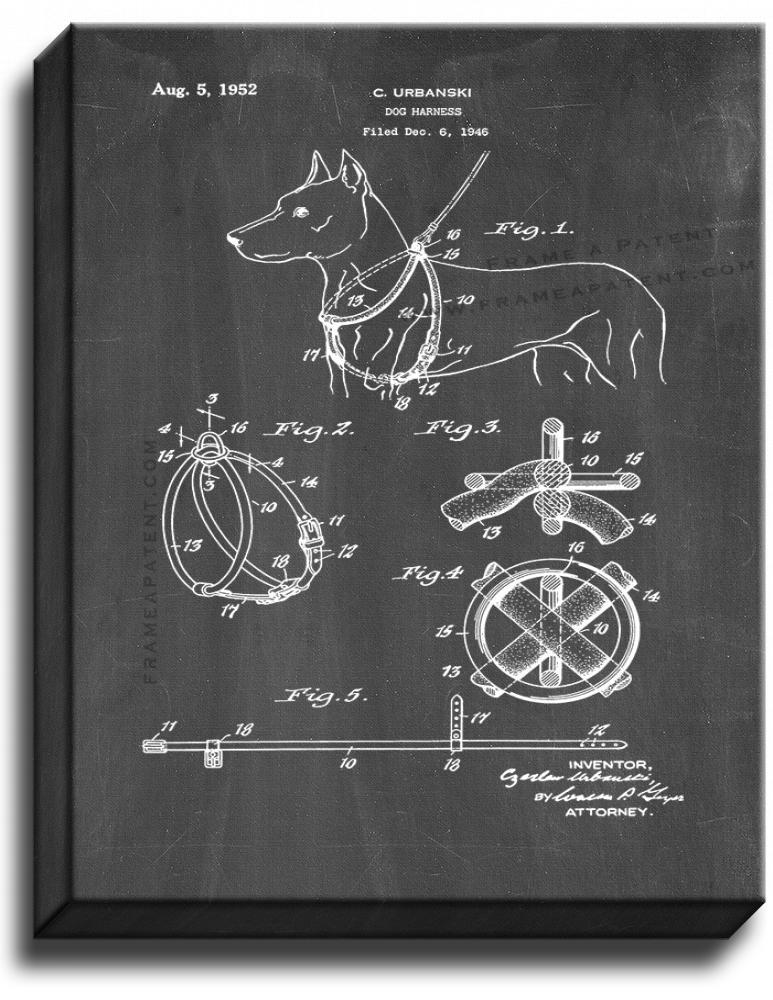 Primary image for Dog Harness Patent Print Chalkboard on Canvas