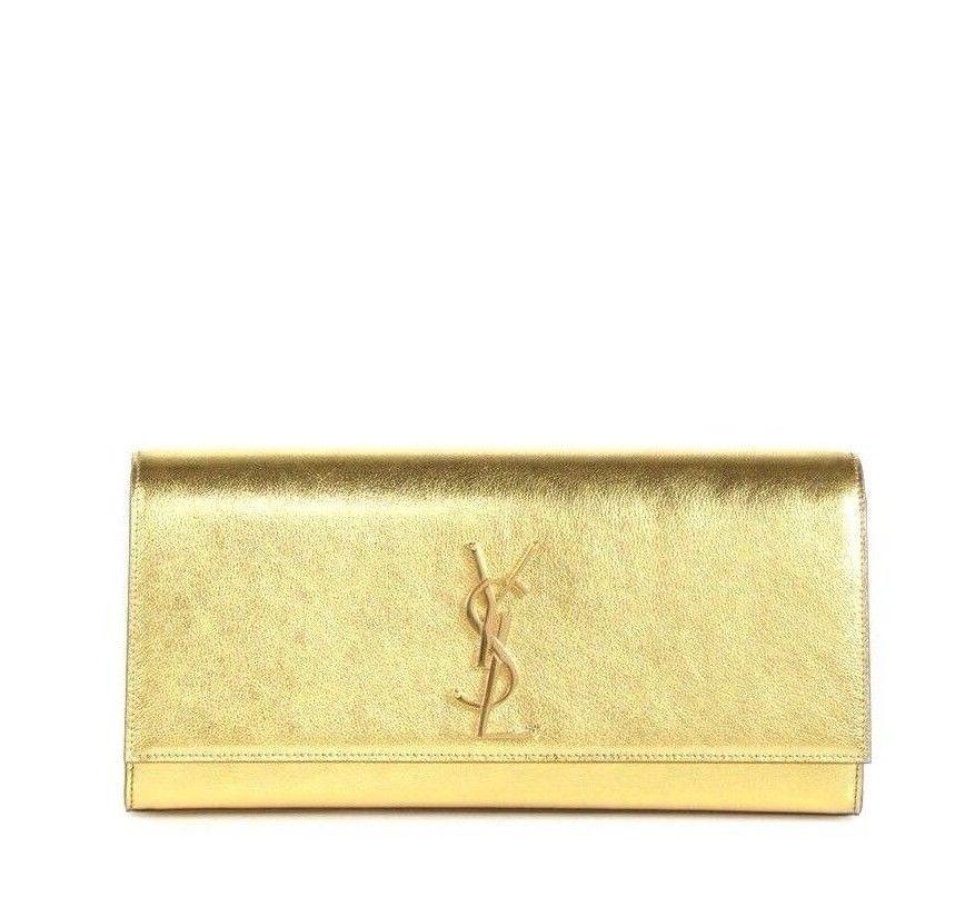 ddccaa3592a8 Y-0115233 New Saint Laurent Gold Metallic Leather Monogram Logo Cassandre  Clutch -  474.99