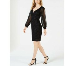 Connected Womens 16 Black Lace Cuff Slit Long Sleeve Deep V Neck Lined D... - $34.64