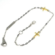 Bracelet Yellow Gold White 18K 750, Ovals and Double cross, Length 20 CM image 1