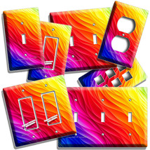 VIBRANT ABSTRACT COLORFUL WAWES ART LIGHT SWITCH OUTLET WALL PLATE ROOM ... - $10.99+