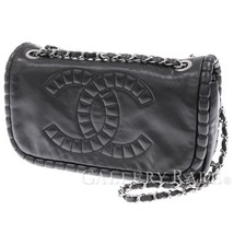 CHANEL Double Chain Shoulder Bag Leather Black Coco Italy Authentic 4883661 - $26.074,28 MXN