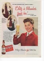 1949 Blatz Pilsner Beer Vintage Print Ad Milwaukee's Finest La Verne Sunde - $9.99