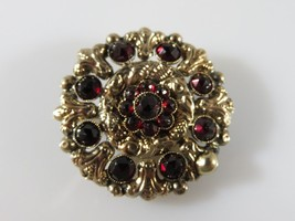 Antique Victorian 10K Yellow Gold Natural Rose Cut Garnet Brooch For Res... - $150.00