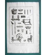 1763 DIDEROT PRINT - Artificial Flower Maker's Tools Wire Wheel Chair Brush - $13.77