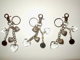 Kathy van Zeeland Lot of 3 Hand Bag Charms Silver Hearts Key Chain Ring Fob - $16.00