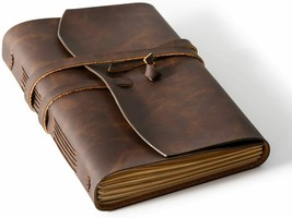 Bedsure Leather Journal Notebook 8X6 Inches Handmade Vintage Bound Journ... - $26.00