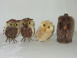 Lot of 4 Vtg Retro 70s Owl Figurines Pine Cone Seeds Rustic Fir Branch N... - $24.74