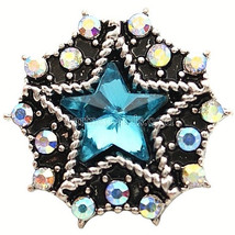 Blue Rhinestone Star 20mm Snap Charm Interchangeable Jewelry Fits Ginger... - $6.19