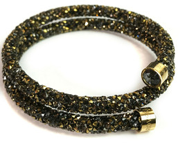 Swarovski Crystaldust Dark Double Bangle Bracelet Size M - $58.15