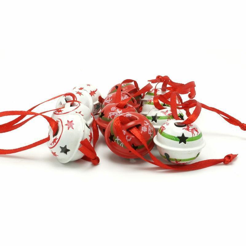 Christmas Metal Jingle Bells With Star Design Red White Xmas Tree Hanging Decors