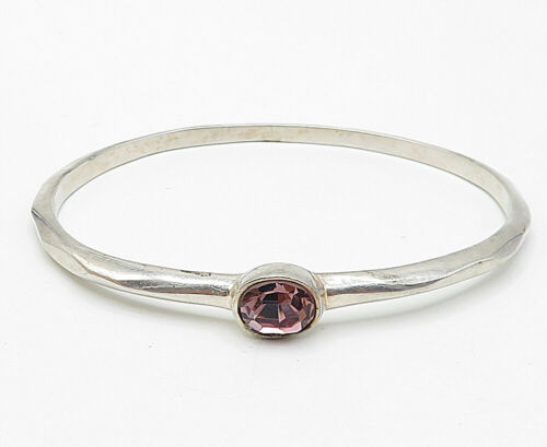 W/A 925 Silver - Vintage Faceted Oval Cut Amethyst Smooth Bangle Bracelet- B5217
