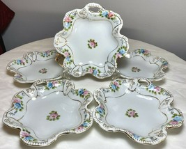 "5PC Vintage Japan Nippon Hand Painted Rose Floral Gold Nut Dip Dishes Bowls 5.5"" - $44.50"