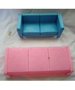 Vintage Barbie Dream House Furniture Hard Plastic Pink Bed Blue Loveseat... - $24.99