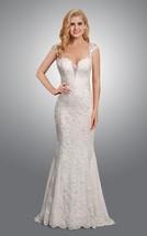 Mermaid Cap Sleeves Open Back Sweep Train White Lace Wedding Dresses - $165.00